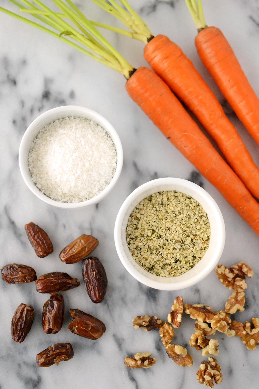 kitskitchen raw, vegan, gluten-free carrot cake bites ingredients