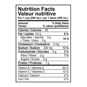 Butternut Squash + Ginger Soup Nutritional Information