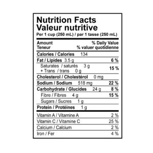 Yam and coconut soup nutritional information